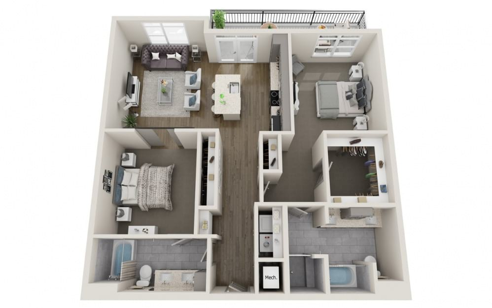 B2 - 2 bedroom floorplan layout with 2 baths and 1218 to 1355 square feet.